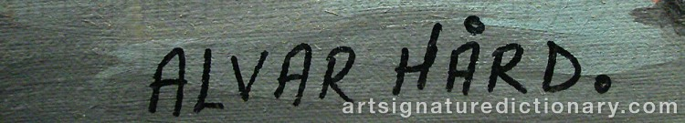 Forged signature of Alvar HÅRD
